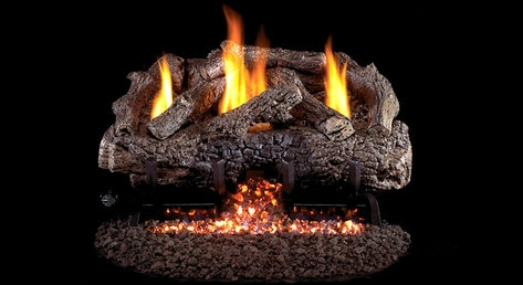 R. H. Peterson G10 Vent Free burner with Charred Frontier Oak Refractory Log S